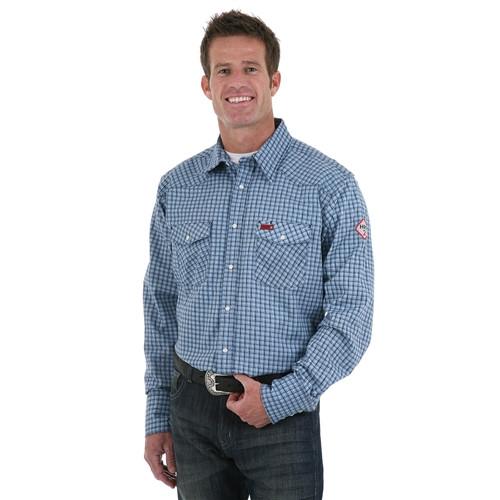Wrangler Men's Flame Resistant Navy/Black Work Shirt
