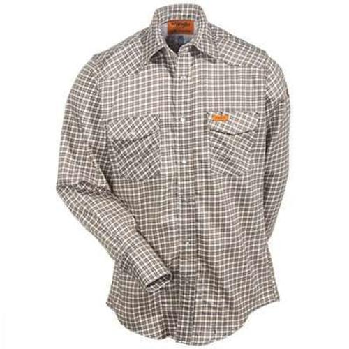 Wrangler Men's Western FR Work Shirt Khaki/White Plaid