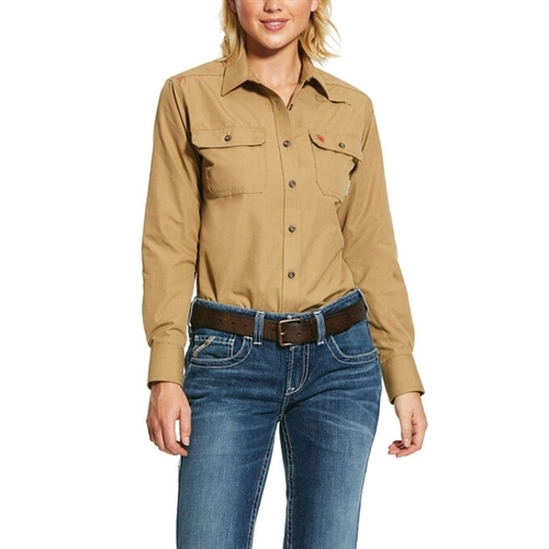 Ariat Women's FR Featherlight Khaki Work Shirt