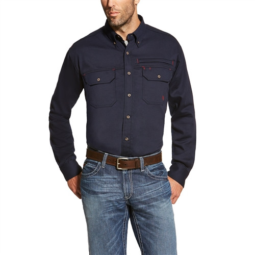 FR Ariat Solid Navy Breathable Venting Work Shirt