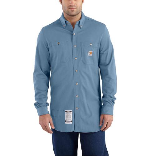 Carhartt Flame-Resistant Force Cotton Hybrid Medium Blue Shirt