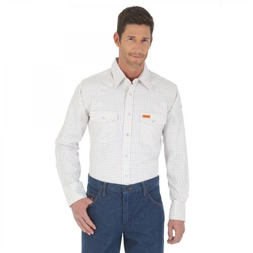 Wrangler Flame Resistant White Long Sleeve Lightweight Work Shirt