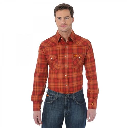 Wrangler Flame Resistant Orange Plaid Work Shirt