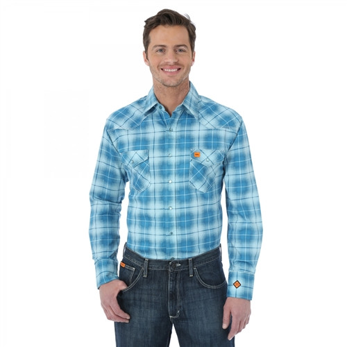 Wrangler Flame Resistant Teal Plaid Work Shirt