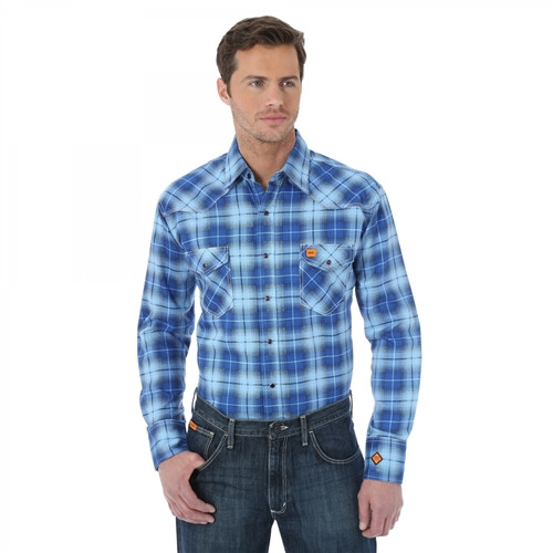 Wrangler Flame Resistant Blue Plaid Work Shirt
