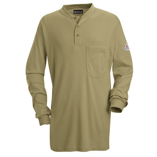 Bulwark Khaki Long Sleeve Tagless Henley Shirt