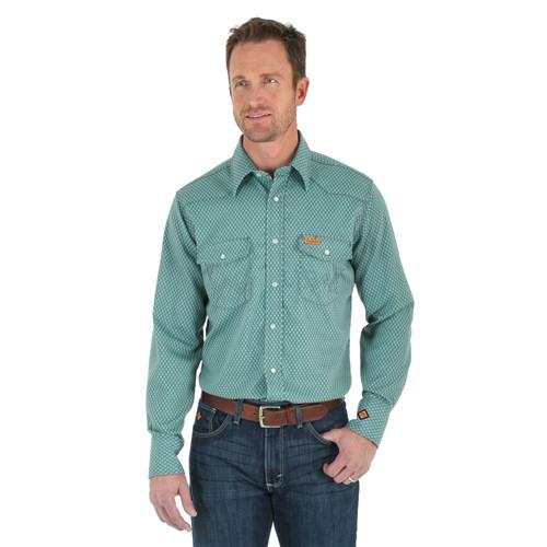 Wrangler FR Geo Plaid Lightweight Work Shirt