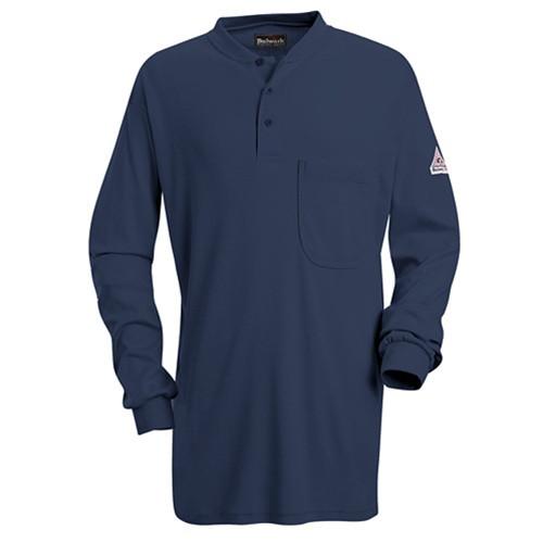 Bulwark Navy Long Sleeve Tagless Henley Shirt