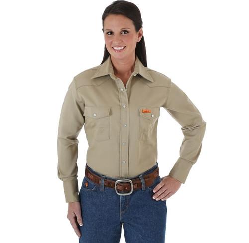 Women's FR Wrangler Khaki Snap Work Shirt