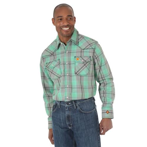 Wrangler Men's FR Green Plaid 20X Western Shirt