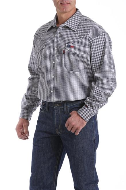 Cinch FR WRX Navy and Khaki Geometric Print Snap Shirt