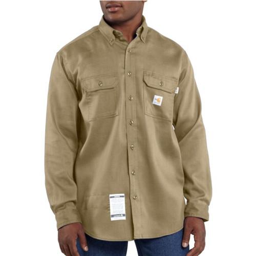 Carhartt Flame-Resistant Lightweight Twill Khaki Tradesman Shirt