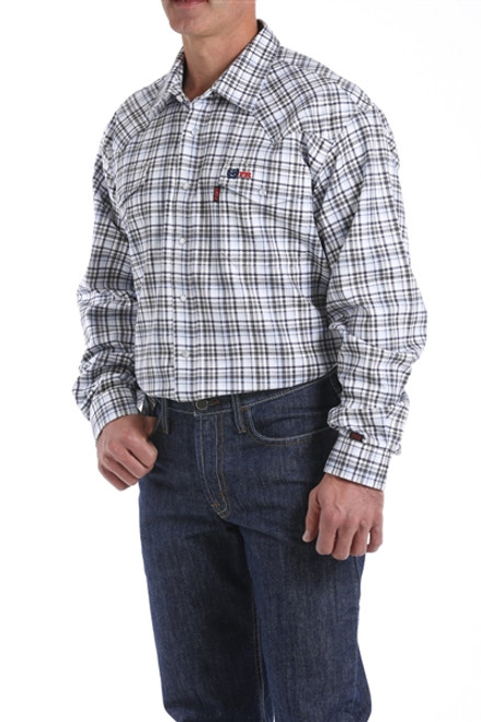 Cinch FR WRX Blue, Charcoal, and Khaki Plaid Snap Shirt