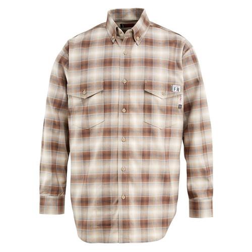 Wolverine FR Plaid Twill Work Shirt Khaki