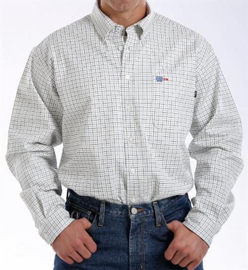 Cinch FR WRX Blue and Brown Plaid Work Shirt