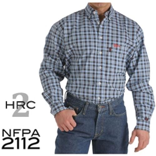 Cinch FR WRX Men's Blue/Black Plaid Work Shirt