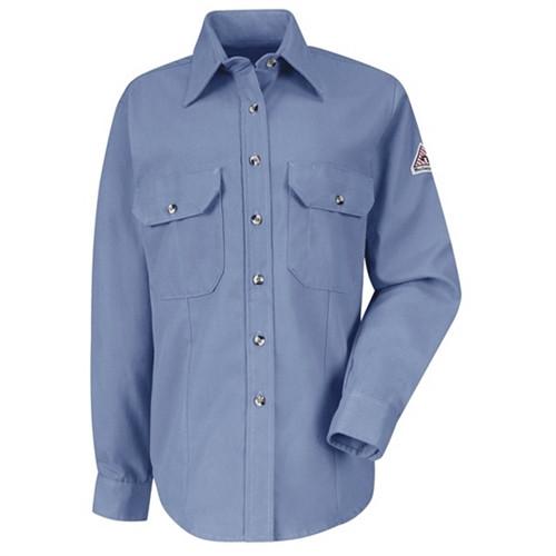 Women Bulwark FR Uniform Dress Shirt  Lt. Blue