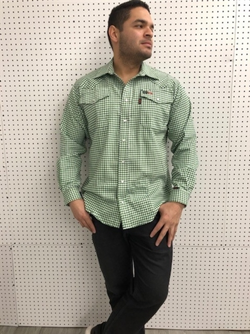Cinch FR WRX Green Plaid Print Work Shirt