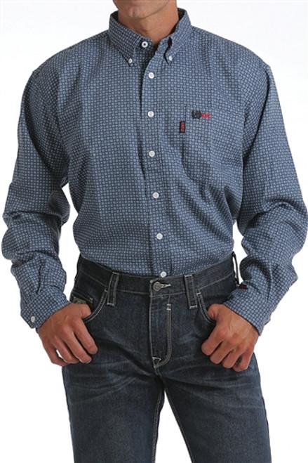 Cinch FR WRX Blue Geometric Print Work Shirt