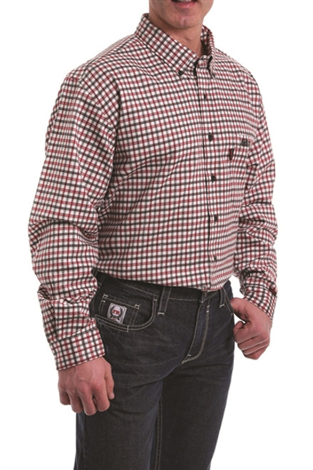 Cinch FR Red, Black, and White Plaid
