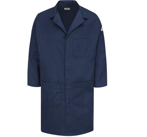 Bulwark FR Concealed Snap Front Navy Lab Coat KLL6NV