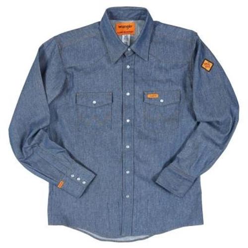 Wrangler Men's Flame Resistant Blue Denim Work Shirt