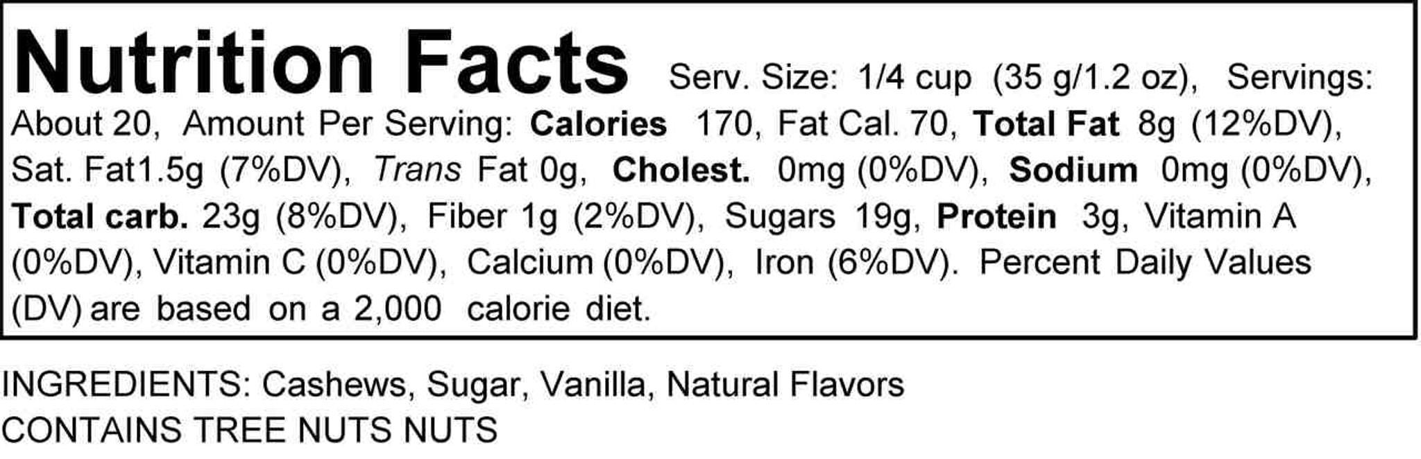 Vanilla Rum Cashews (Bulk, by the lb.)