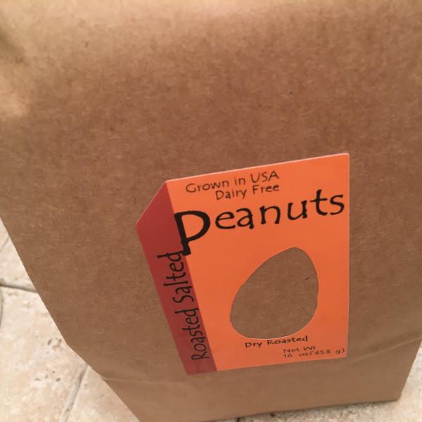 1 lb bag redskin peanuts. dry roasted no salt OR salted. Sealed tin tie bag.
