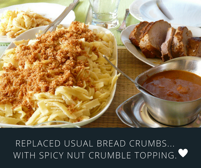 Use Nut Crumbs to Make Spicy Pasta and Cheese