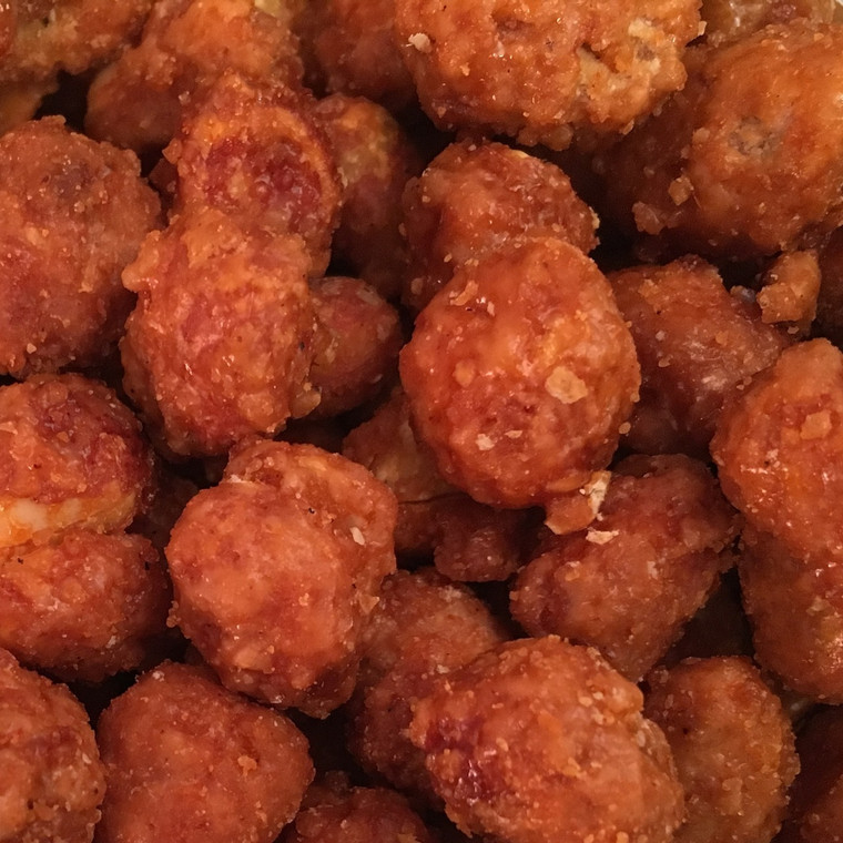 Buffalo Peanuts. Peanuts  Dry Roasted in Hot Cayenne Pepper Sauce and sugar for a great sweet and spicy taste.