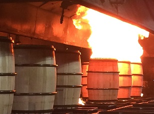 charring bourbon barrels