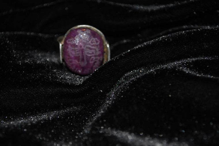 Ruby Ring engraved with an amulet, talisman or spirit seal, then