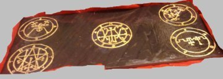 """A custom engraved granite or slate altar top. 1/2"""" thick. Perfect for placing offerings and candles on as well as a very strong contact point for Deities orDaemon Demons."""