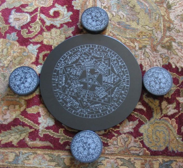 Enochian sigil Dei Aemeth engraved in marble