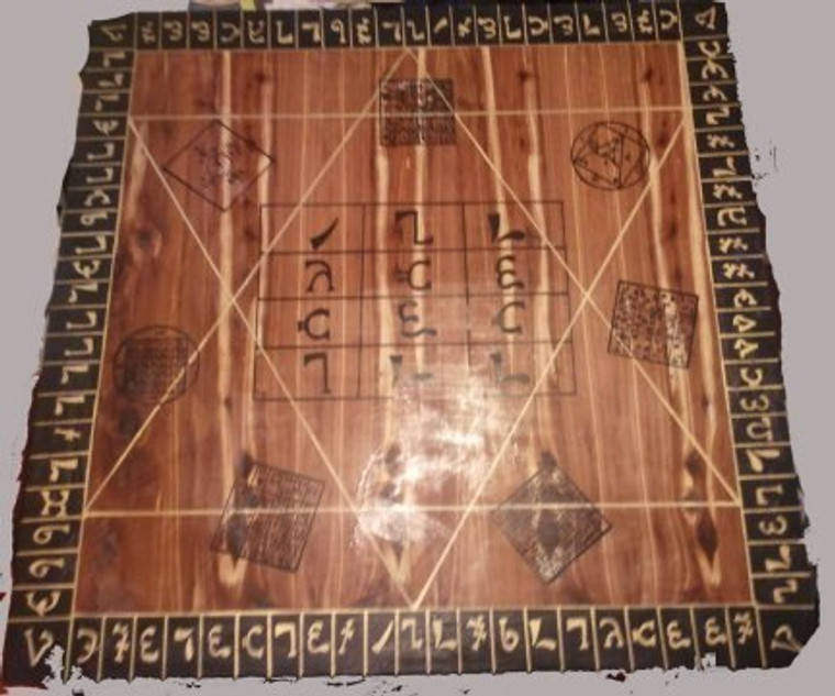 Enochian ensigns of creation painted on the table