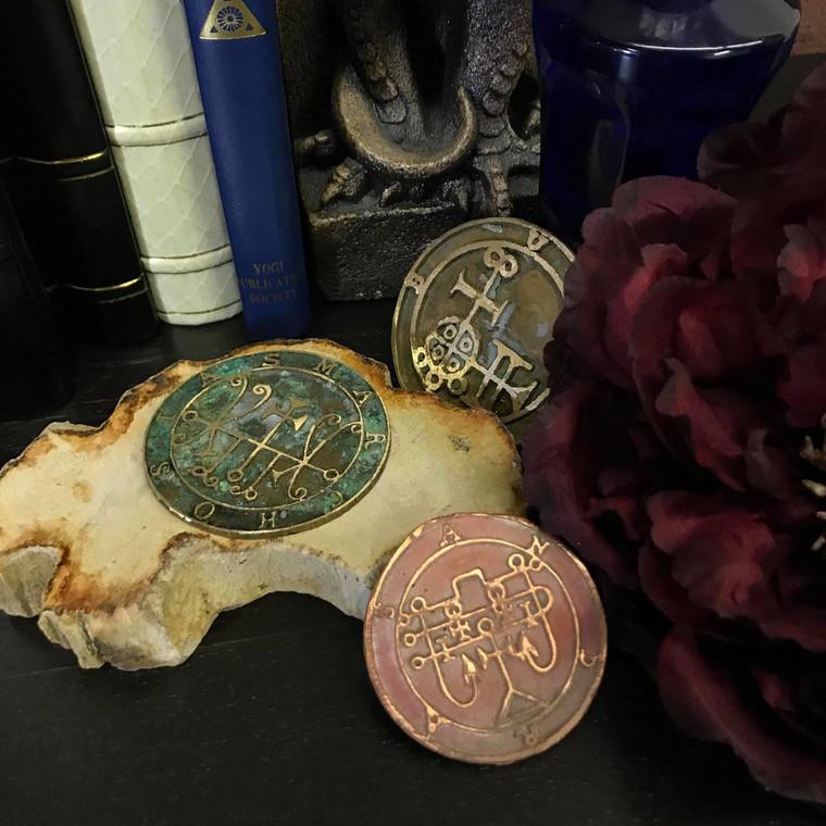 Fine silver Goetia Lost wax cast Daemon Demon seal pendant 2 inches Grimoire