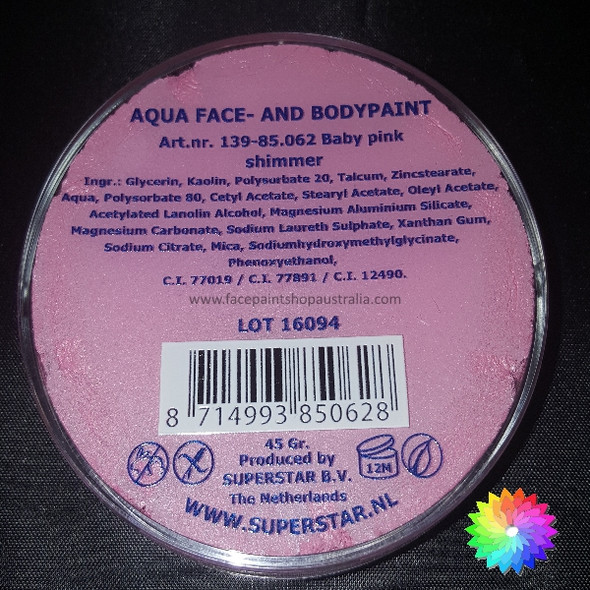 #062 BABY PINK SHIMMER Superstar AQUA Face and Body Paint