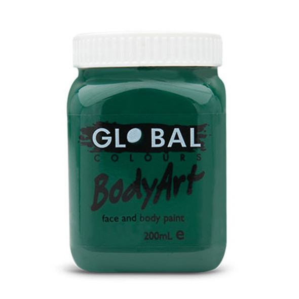 DARK GREEN Face and Body Paint Liquid by Global Colours