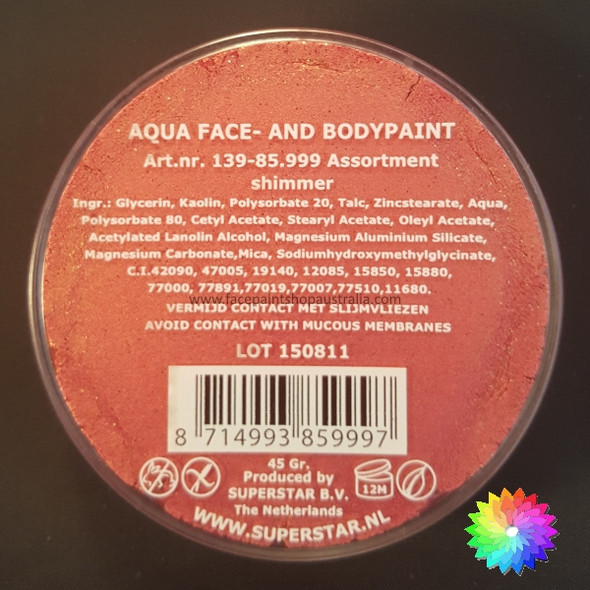 #067 GOLD GLITTER PINK SHIMMER Superstar Aqua Face and Body Paint