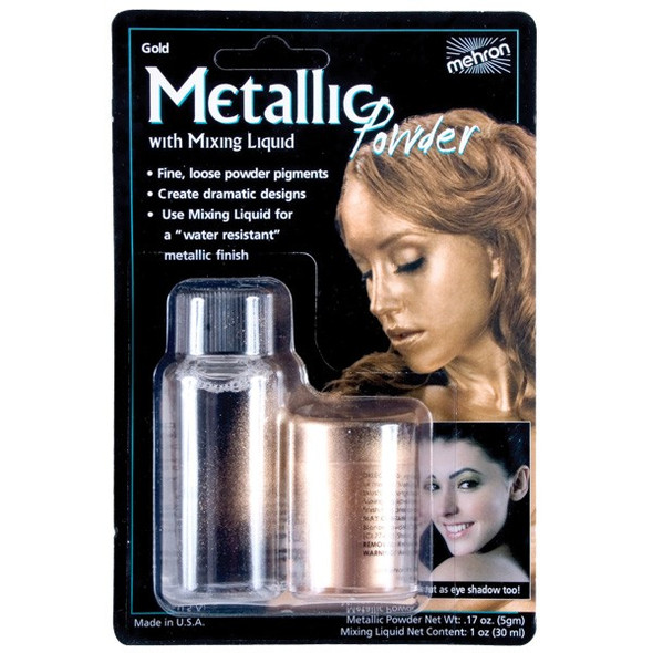 Mehron Metallic Powder GOLD WITH MIXING LIQUID