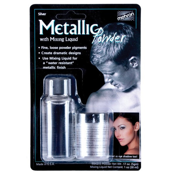 Mehron Metallic Powder SILVER with MIXING LIQUID