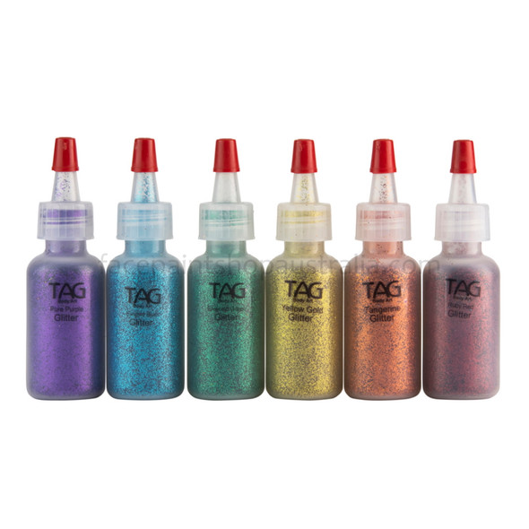 RAINBOW COLOURS Cosmetic Glitter Set of 6x 15ml bottles