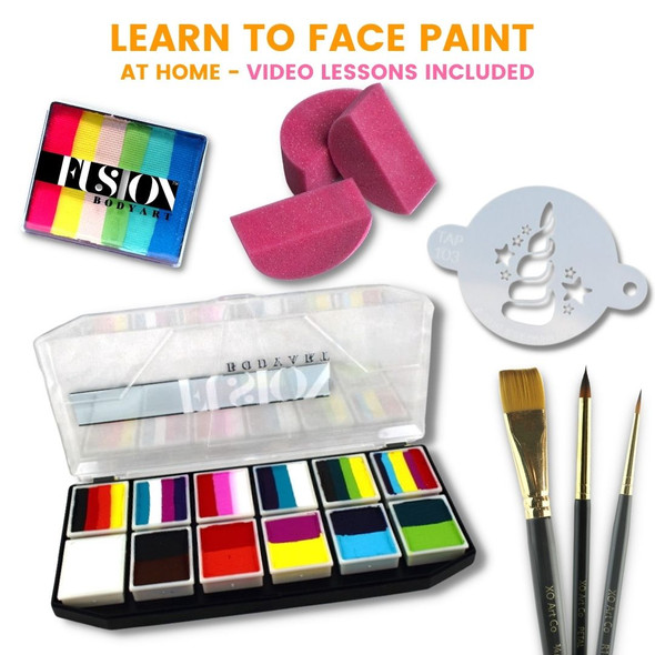 Fusion Carnival Kit with sponges, brushes and a stencil