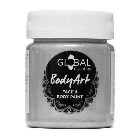 SILVER Face and Body Paint Liquid by Global Colours
