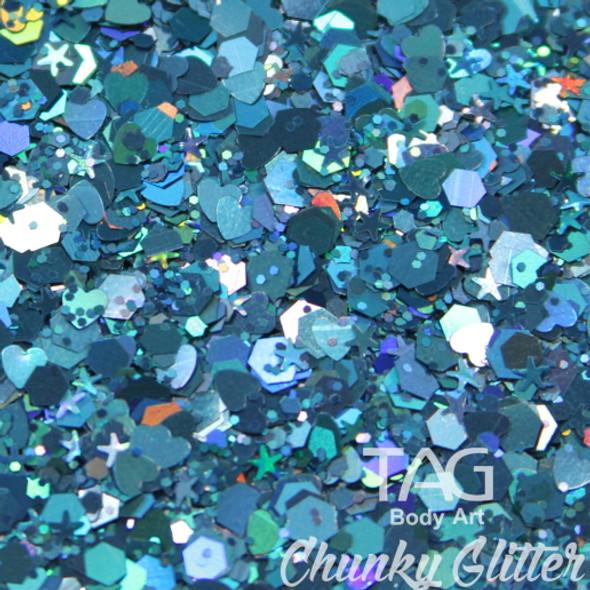 Blue chunky glitter TAG Body art