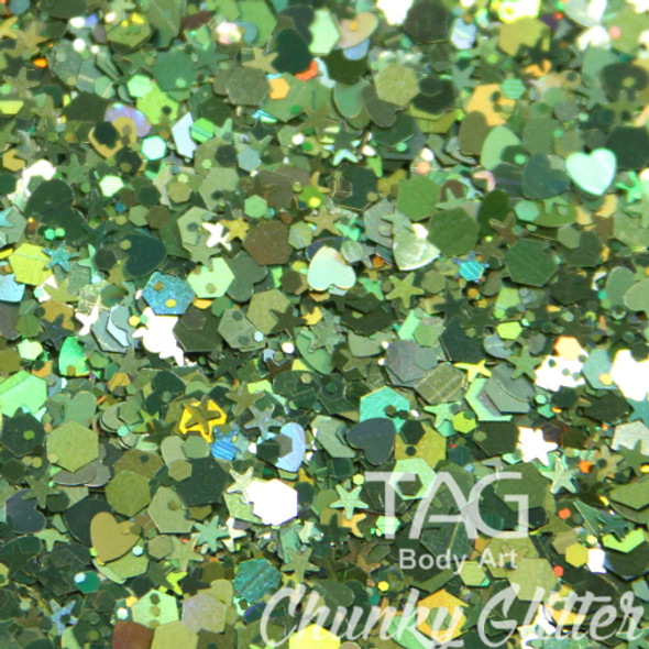 Green chunky glitter TAG Body art