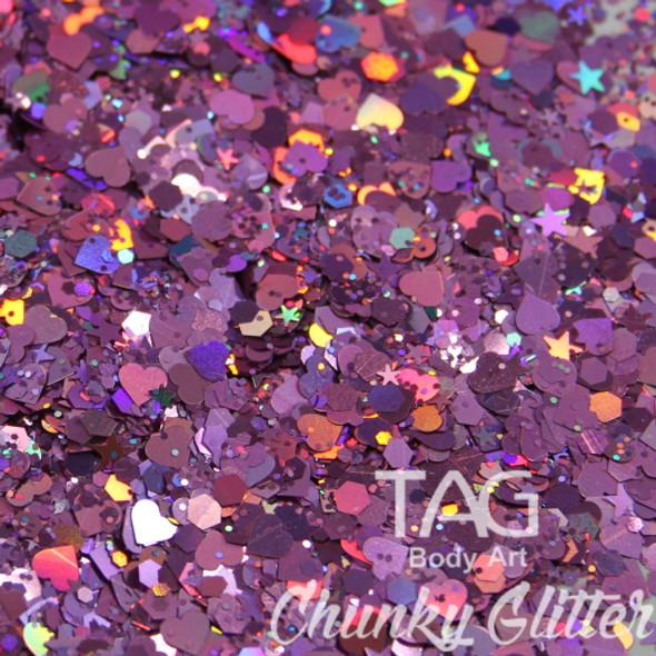 Pink chunky glitter  TAG Body art
