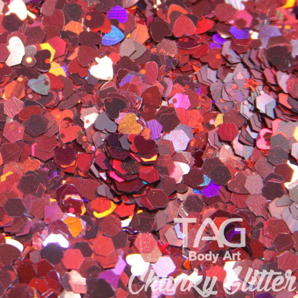 Red chunky glitter by TAG Body art