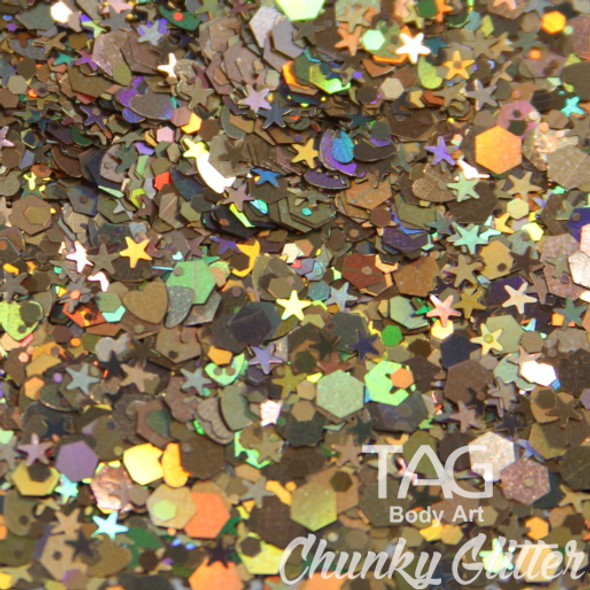Dark Gold chunky glitter TAG Body art
