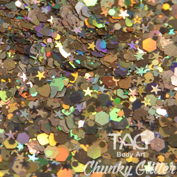 DARK GOLD chunky glitter 10g